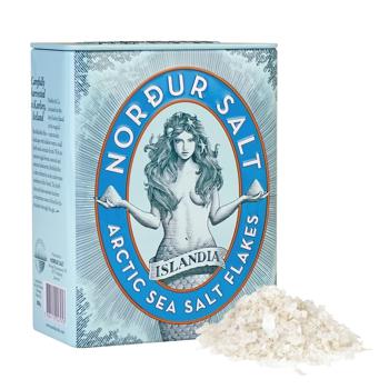 Salzflocken in der Metalldose von Nordur Salz Motiv Meerjungfrau