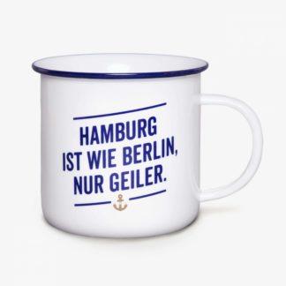 Becher Hamburg ist wie Berlin nur geiler Porzellan Emaillelook