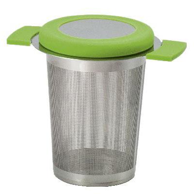 Filter für losen Tee aus Edelstahl mit Deckel in Grün