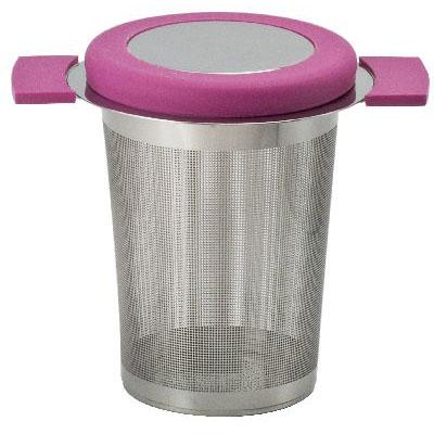 Filter für losen Tee aus Edelstahl mit Deckel in Rosa